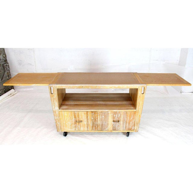 Arts & Crafts 1970s Arts & Crafts Adze Cut Ceruised Oak Finish Serving Cart Bar on Wheels For Sale - Image 3 of 12