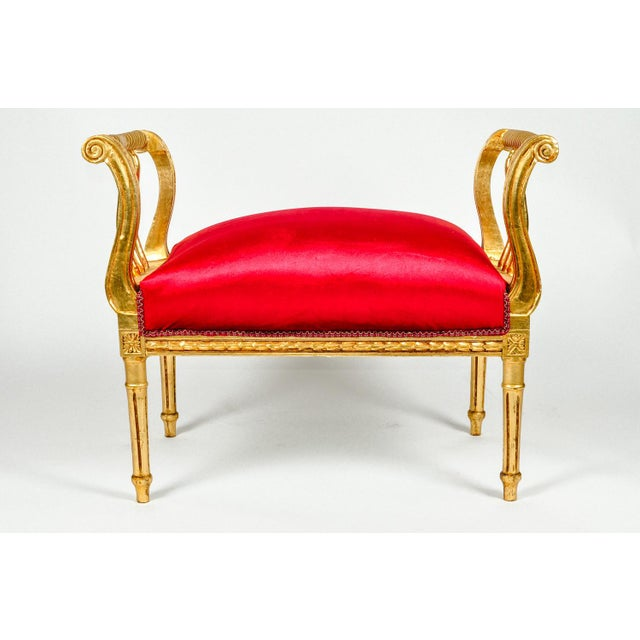 Neoclassical-Style Giltwood Bench For Sale - Image 11 of 11