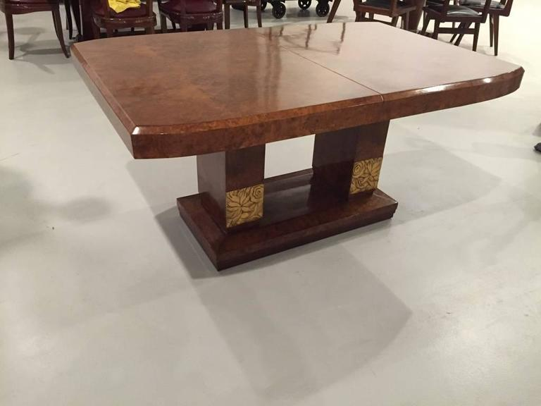 Art Deco Burl Amboyna French Art Deco Dining Table For Sale   Image 3 Of 4