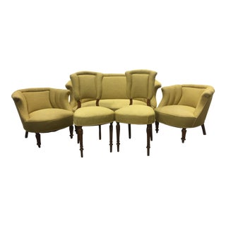 1940s Vintage Collection of Chartreuse Belgian Linen Furniture Chairs - Set of 6 For Sale