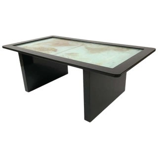 Art Deco Fish Decorated Etched and Silvered Glass Top Coffee Table For Sale