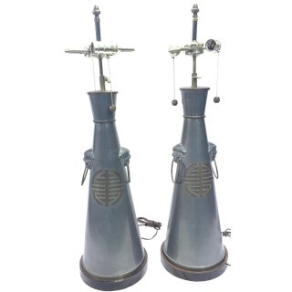 Pair of Antique Chinese Pewter Lamps Trumpet Form For Sale