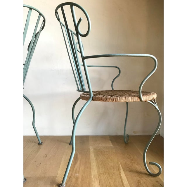 Vintage Verdigris Iron and Woven Rattan Dining or Patio Chairs-Set of Four For Sale In San Diego - Image 6 of 13