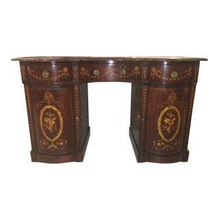 Marquetry Desk With Leather Top