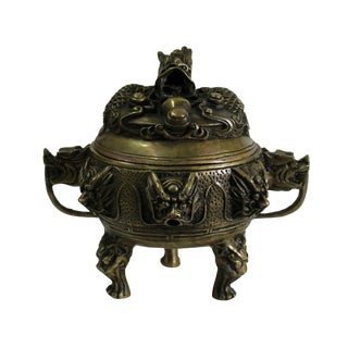 Chinese Brown Dragon Head Lid, Dragons Bronze Incense Burner For Sale
