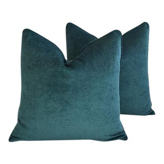 """24"""" Custom Tailored Marine Green/Turquoise Velvet Feather/Down Pillows - a Pair For Sale"""