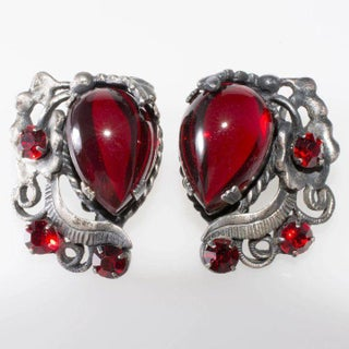 1950s Set Hinged Cuff Bracelet & Earrings Red Rhinestones Silver Plated Vintage Preview