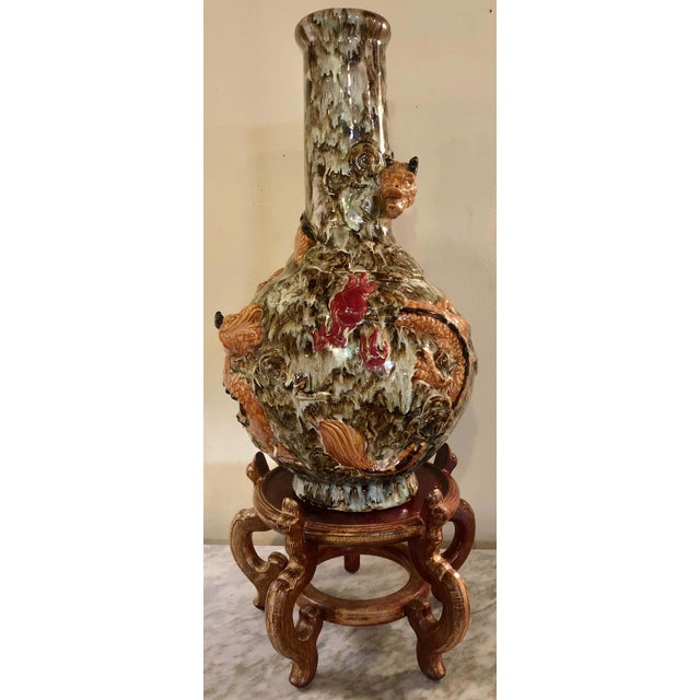 Art Nouveau Porcelain Vase, Having Double Serpents on a Stand For Sale - Image 3 of 13