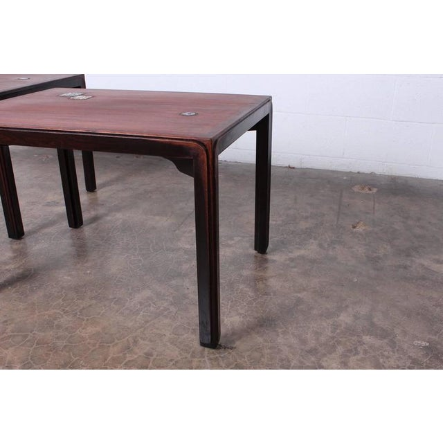 Pair of Edward Wormley for Dunbar Tables with Natzler Tiles - Image 4 of 10