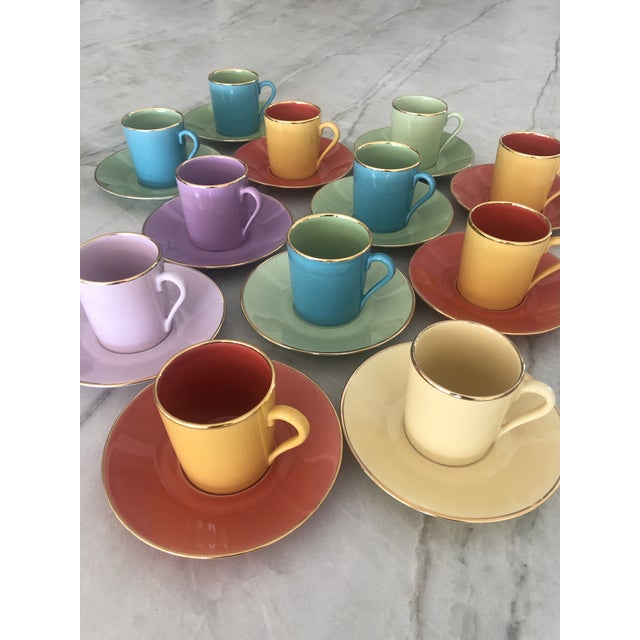 Multi-Colored Apilco Demitasse / Espresso Cups by Yves Deshoulieres, Made in France - Set of 12, 24 Pieces For Sale In Los Angeles - Image 6 of 10
