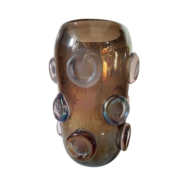 Brown Large Mid Century Modern Brown & Purple Iridescent Vase, by Seguso 1970s For Sale - Image 8 of 8