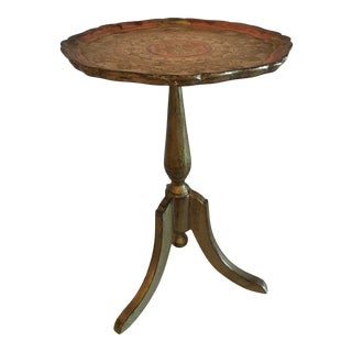 Vintage Italian Florentine Gilt Wood Pedestal Wine Table For Sale