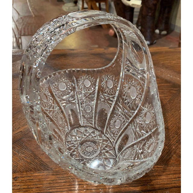 White Mid-Century French Cut Glass Crystal Candy Basket With Handle For Sale - Image 8 of 10