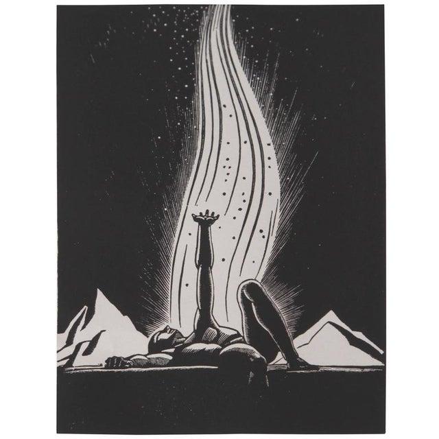 "Art Deco 1939 Rockwell Kent ""Flame"" Original Block Print Calendar For Sale - Image 11 of 11"