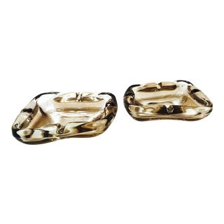 Pair of French Mid-Century Modern Smoked Glass Ashtrays, 1960s For Sale