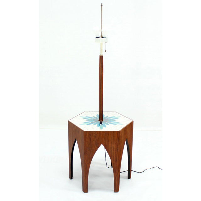 Lacquer Harvey Probber Tile and Oiled Walnut Floor Lamp Side Table For Sale - Image 7 of 7