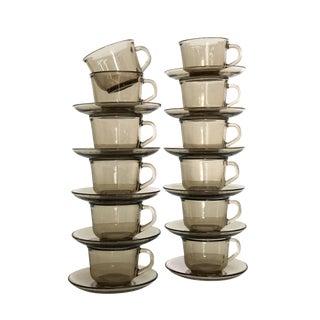 Mid Century Smoked Glass Arcopal Espresso Set