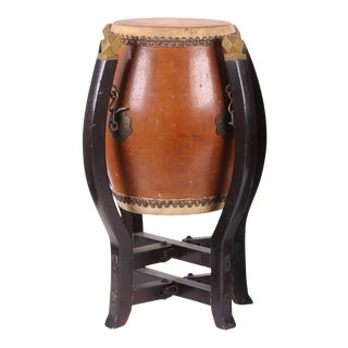 Japanese Drum Form Side Table For Sale