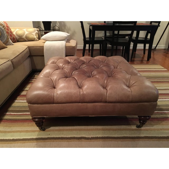Thomasville Tufted Leather Ottoman - Image 2 of 3