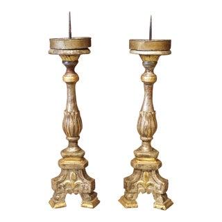Giltwood Florentine Fleur De Lis Candlesticks, 19th Century - a Pair For Sale