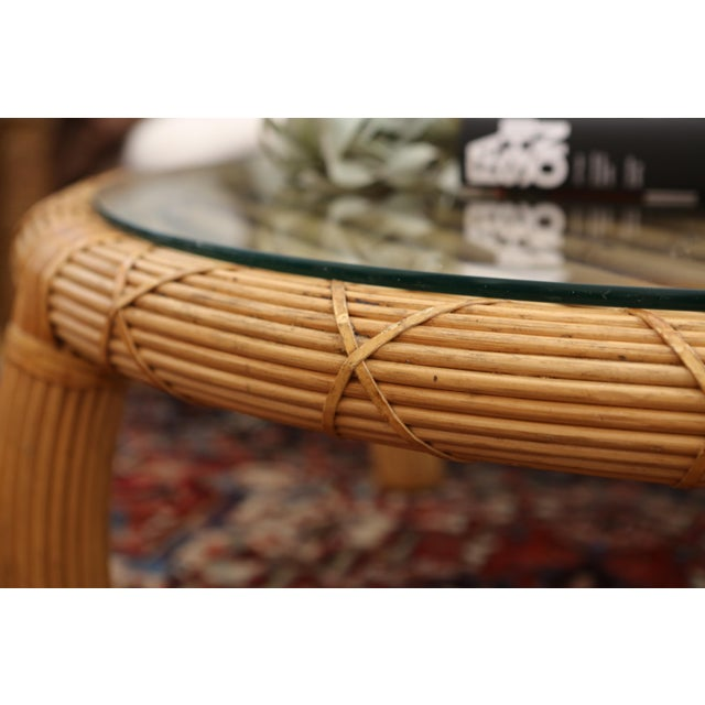 Gabriella Crespi Style Rattan & Bamboo Pencil Reed Coffee Table - Image 5 of 10