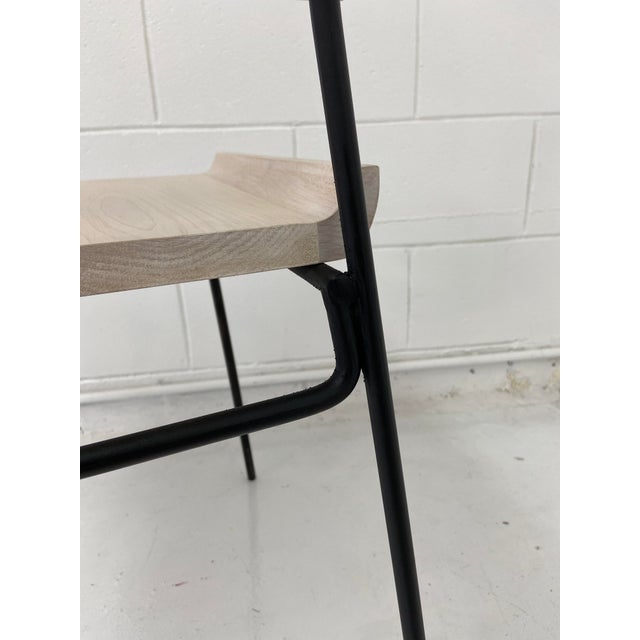 Metal Paul McCobb Style Oak and Iron Chairs- Set of 4 For Sale - Image 7 of 13
