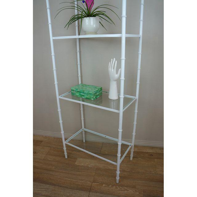 White Faux Bamboo Etagere Shelf For Sale In Palm Springs - Image 6 of 8