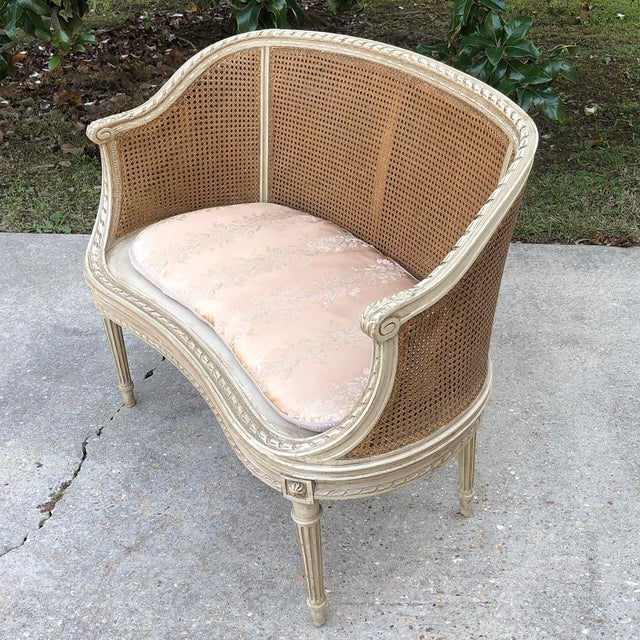 French 19th Century French Louis XVI Painted Canape For Sale - Image 3 of 12