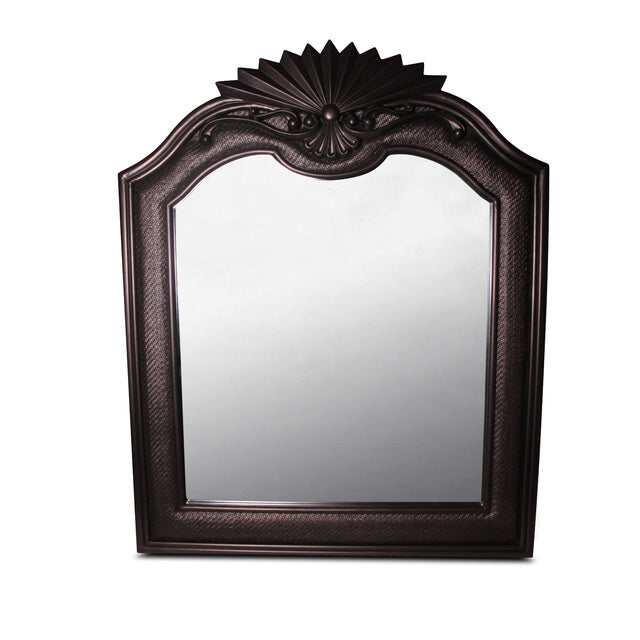 Bronzed Espresso Wicker & Wood Mirror - Image 1 of 2