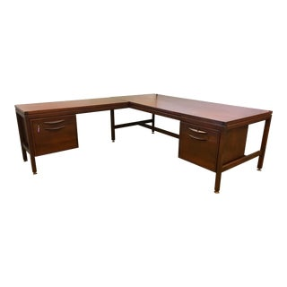 Signed Jens Risom Mid-Century Modern Large Walnut Executive Desk For Sale