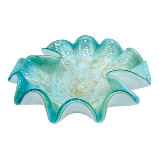 Mid-Century Aqua and Gold Cased Murano Bowl For Sale