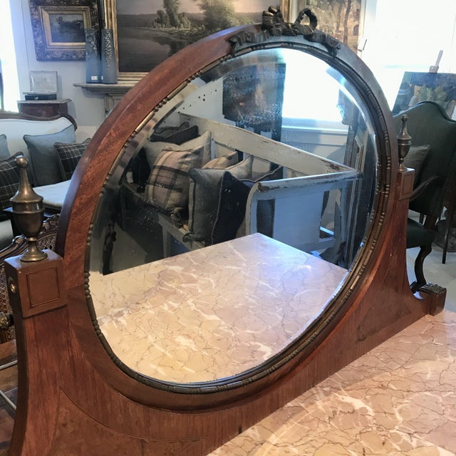 Early 20th Century French Louis XVI Style Marble Top Dressing Table or Vanity For Sale - Image 9 of 12
