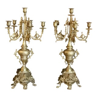 Ornate Brass XLarge Candelabras 6 Arm Candle Holders - a Pair For Sale