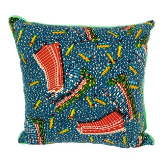 Red/Blue & Green Backed African Wax Print Pillow