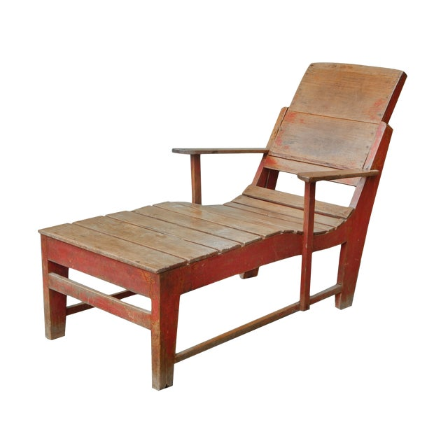 Late 19th C. Primitive Painted Chaise For Sale
