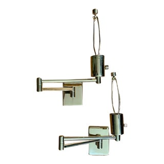 Mid-Century Modern Brass George W. Hanson, Hinson Swing Arm Lamps - a Pair For Sale