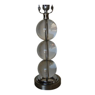 Large Stacked Three Large Crystal Ball Table Lamp For Sale
