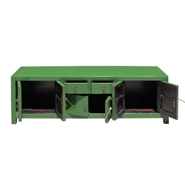 Chinese Distressed Medium Dark Moss Green Low Tv Console Table Cabinet For Sale - Image 4 of 7