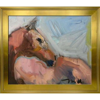 Jose Trujillo Abstract Framed Impressionism Modernist Equestrian Horse Painting For Sale