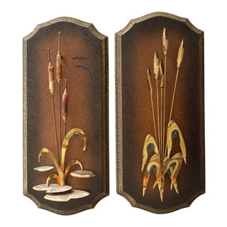 Mid Century Wood Metal Cattail Reed Wall Art - a Pair For Sale