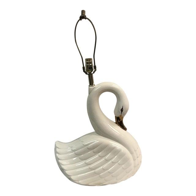 Large Vintage White Porcelain Swan Lamp - Image 1 of 11