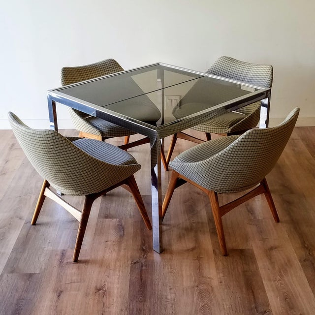 1970s 1970s Milo Baughman Square Chrome and Smoked Glass Dining Table For Sale - Image 5 of 12