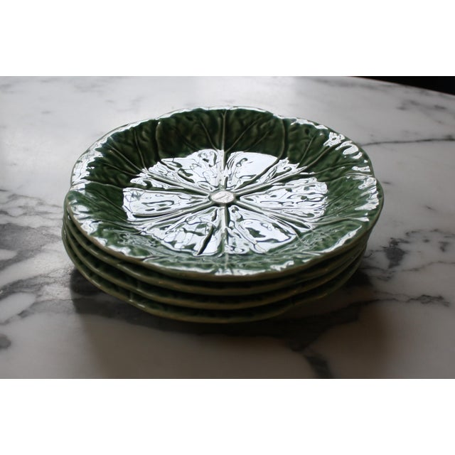 Green Set of 4 Bordallo Pinheiro Green & White Majolica Style Cabbage Salad Plates For Sale - Image 8 of 10