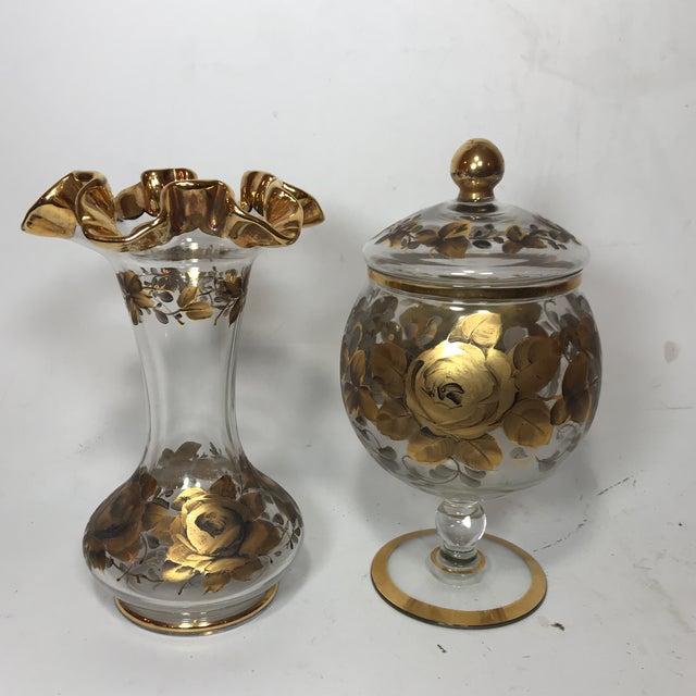 Hand Painted Crystal Jar & Vase - Image 7 of 7