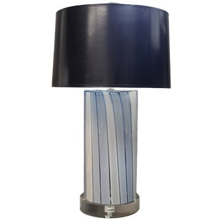 Vintage used houston table lamps chairish cilindro blue and white stripe glass lamp mozeypictures Choice Image