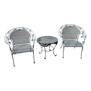 Vintage Wrought Iron Barrel Back Garden Chairs & Table, 3 Pieces For Sale