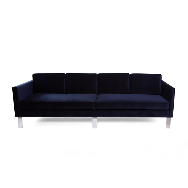 1970s Vintage Martin Brattrud Navy Mohair Sofa For Sale In Phoenix - Image 6 of 6
