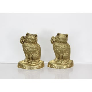 Vintage Pair of Brass Cat Bookends Preview