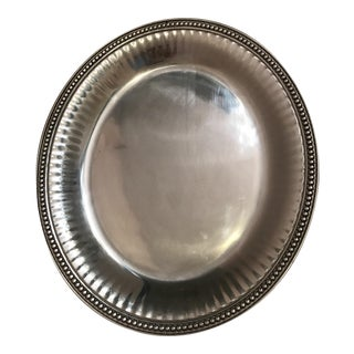 Wilton Armetale Flutes & Pearls Large Oval Tray