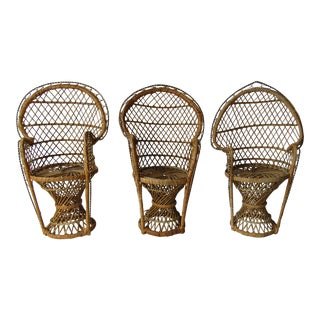 Vintage Wicker Fan Back Doll Peacock Chair Plant Stands - Set of 3 For Sale
